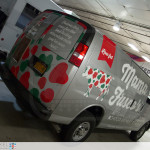 An indoor photo of the passenger side rear area of Mama Fuscos van.
