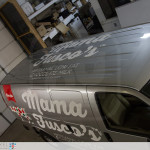 A view of the roof graphics installed on Mama Fuscos van.