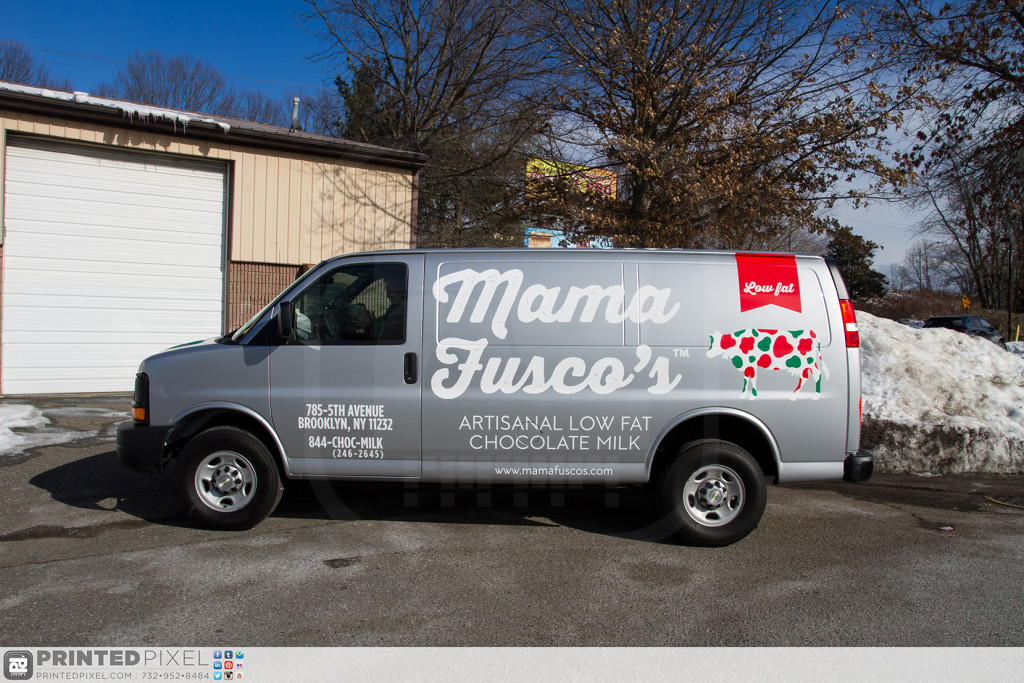 Head on photo of the driver side portion of Mama Fuscos van.