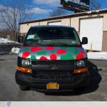 Head on photo of the Mama Fuscos van all wrapped up and complete.