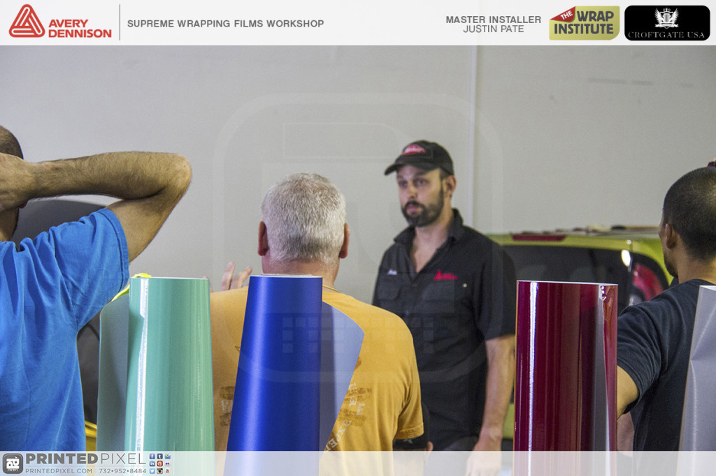 Justin Pate of The Wrap Institute with everyones attention at the Avery Dennison Supreme Wrapping Films Workshop at Printed Pixel, Inc. in South Amboy, New Jersey.