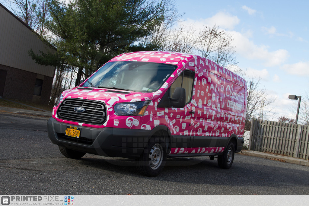 Claim it Ford Transit sampling vehicle fully wrapped before leaving Printed Pixel.
