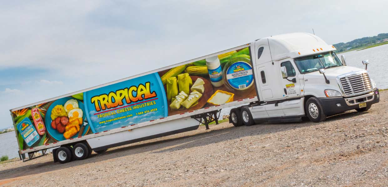 Fleet vehicle wraps are a huge part of Tropical Cheese Industries marketing strategy.