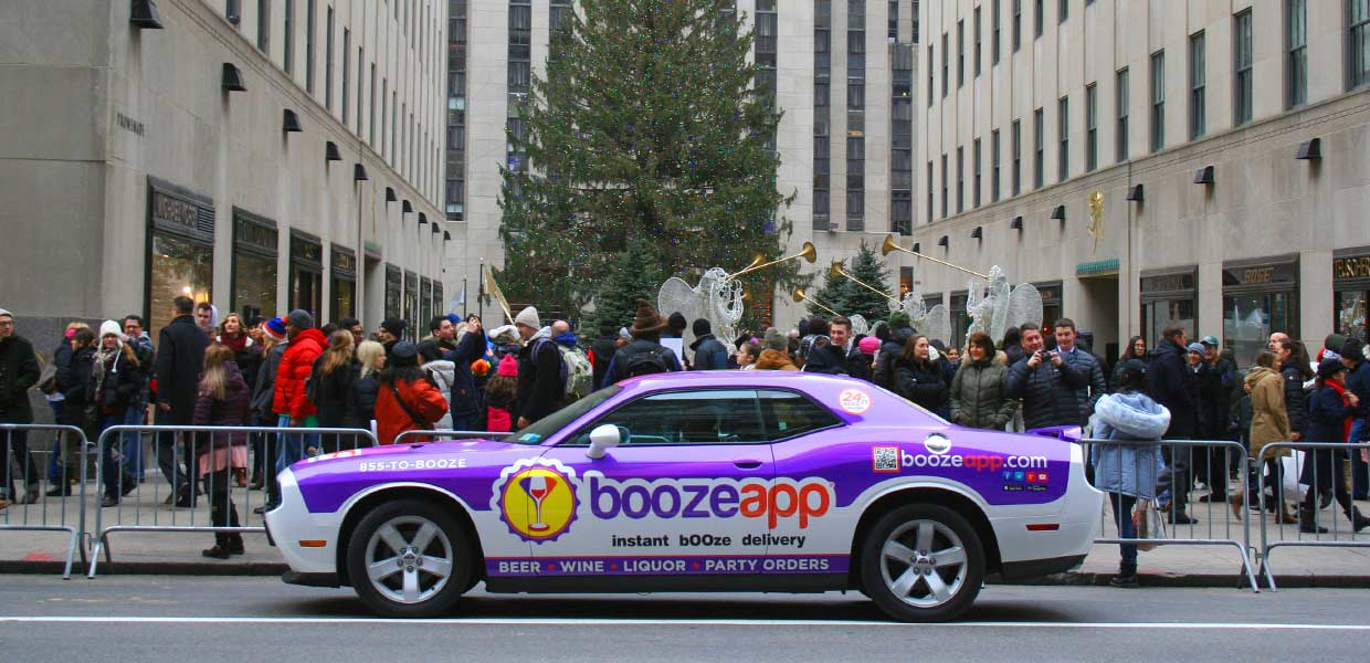 BoozeApp delivery service enlisted the help of Printed Pixel to wrap their delivery service promotional vehicle.