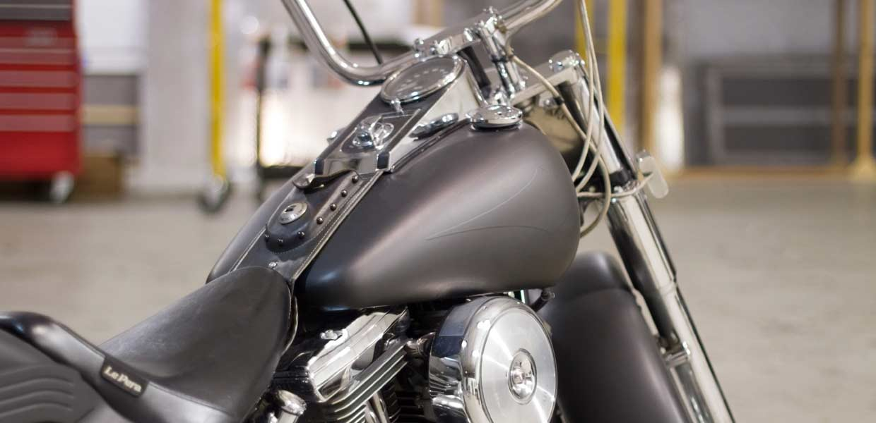 We wrapped this older Harley Davidson in Avery Dennison's Matte Black for its new owner.
