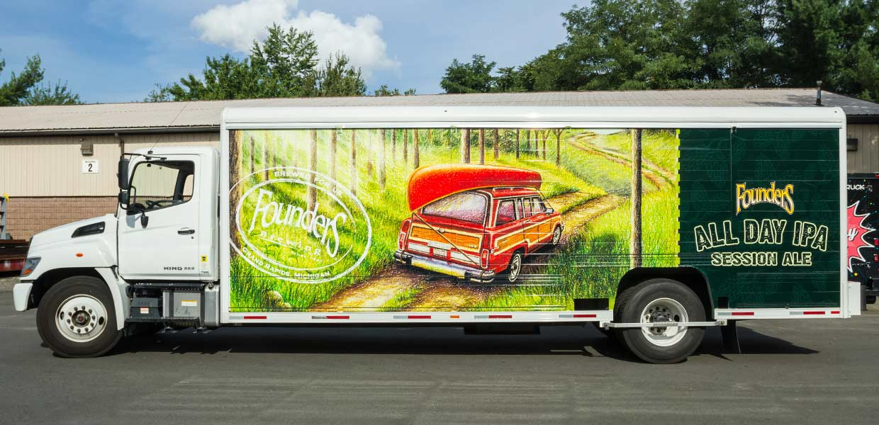 Printed Pixel wrapped this beer delivery truck for Founders Brewing in their All Day IPA branding.