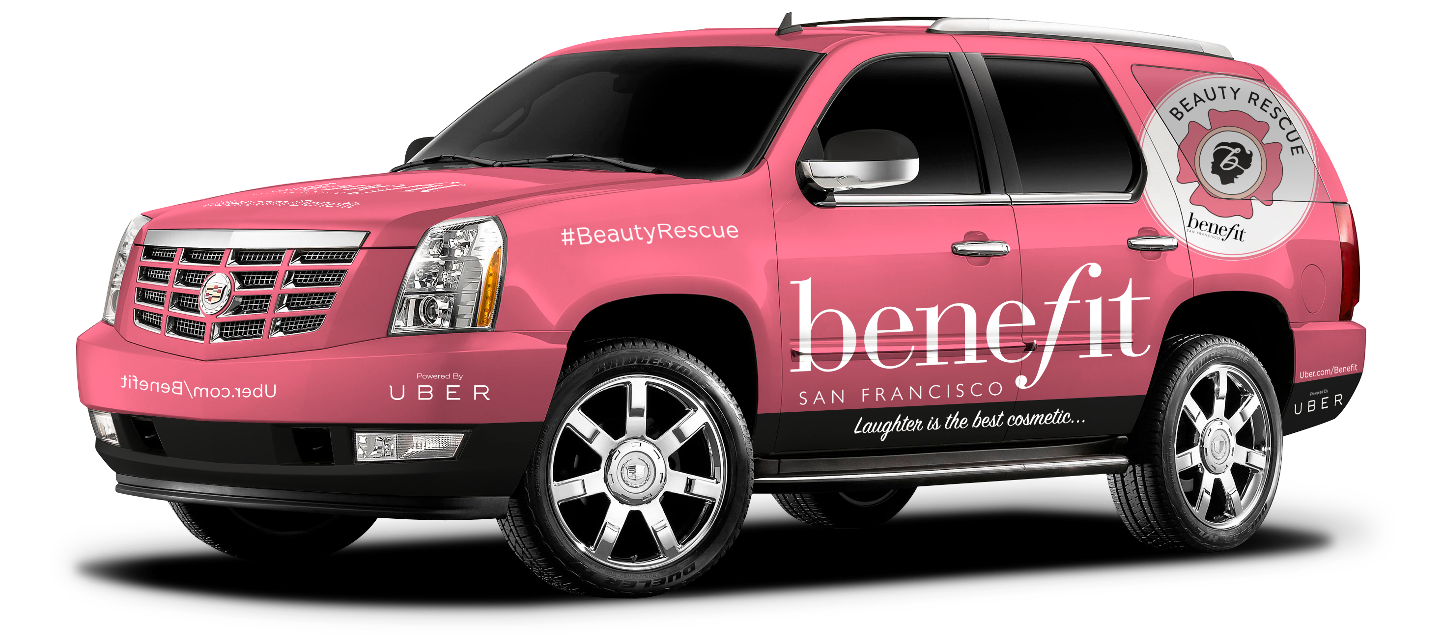 Benefit Cosmetics and UBER wrapped a fleet of Escalades for NYC Fashion Week
